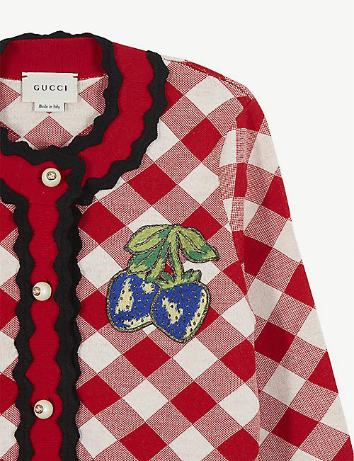 GUCCI Strawberry patch checked wool cardigan 8 years