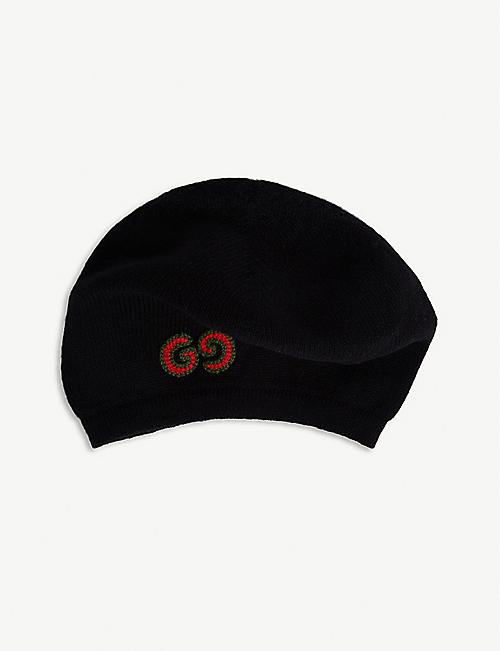 GUCCI Logo wool and cashmere beret