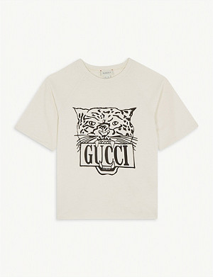 GUCCI Leopard logo cotton T-shirt 4-10 years