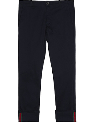 GUCCI Web cuff cotton-blend trousers 4-12 years
