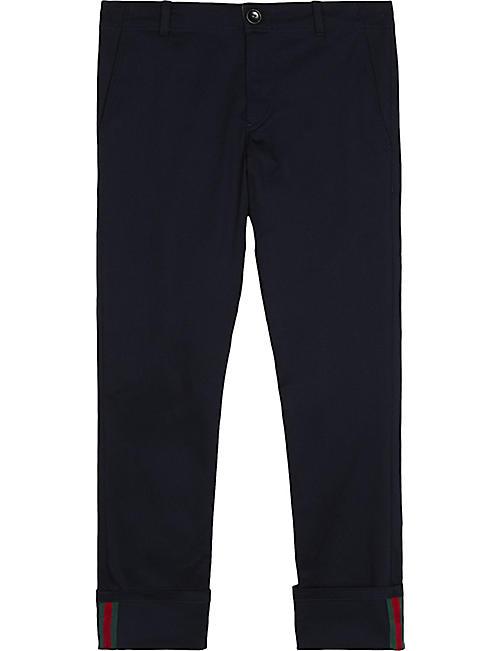 91960cf9f10 GUCCI Web cuff cotton-blend trousers 4-12 years