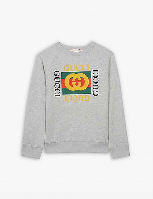 934a758effe GUCCI  GG  logo cotton sweatshirt 4-12 years