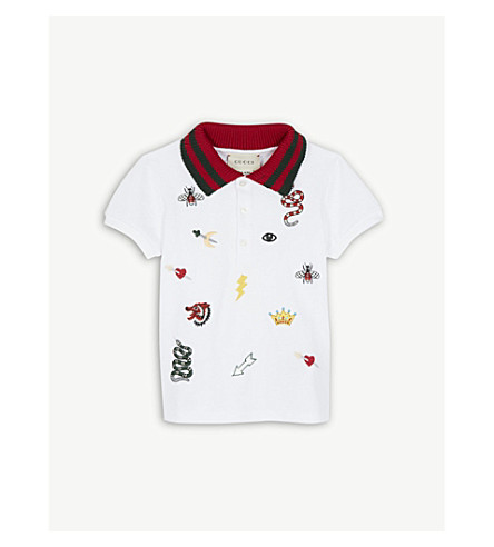 895c1610d248 GUCCI Embroidered badge cotton-blend polo shirt 3-36 months (White