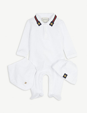 GUCCI Bee-embroidered cotton three-piece baby set 0-12 months