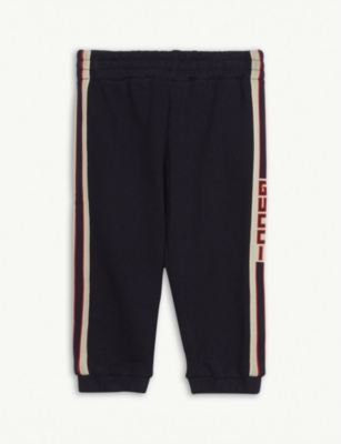 GUCCI Web stripe ribbon cotton jogging bottoms 6-36 months