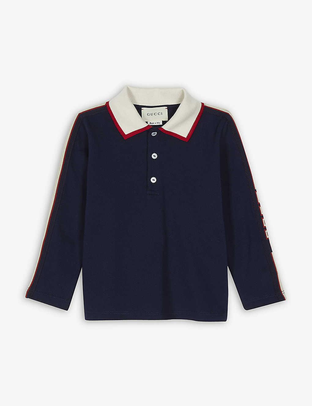 871377728 GUCCI - Logo tape cotton-blend polo shirt 6-36 months | Selfridges.com