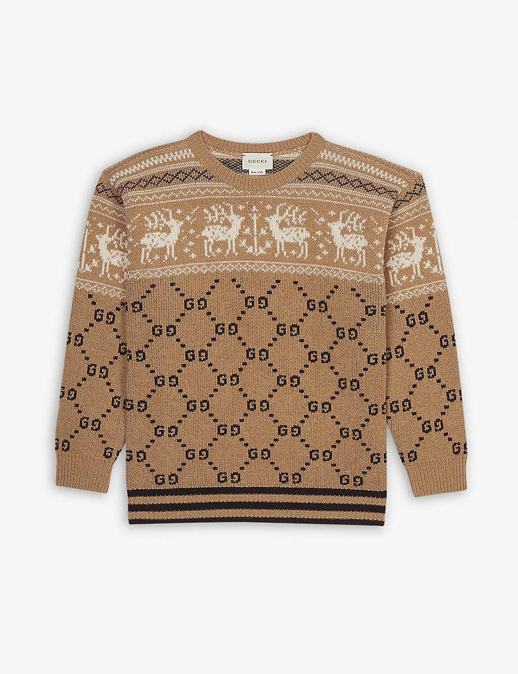 0583cc3b8b8f1 GUCCI - Reindeer Fair Isle wool jumper 8-12 years | Selfridges.com