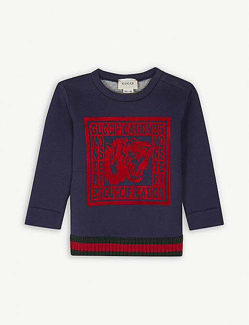 37a4390861f GUCCI Guccification cotton sweatshirt 6-36 months