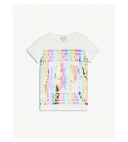 30d09fa24f0 GUCCI Guccification metallic logo cotton T-shirt 4-12 years (White