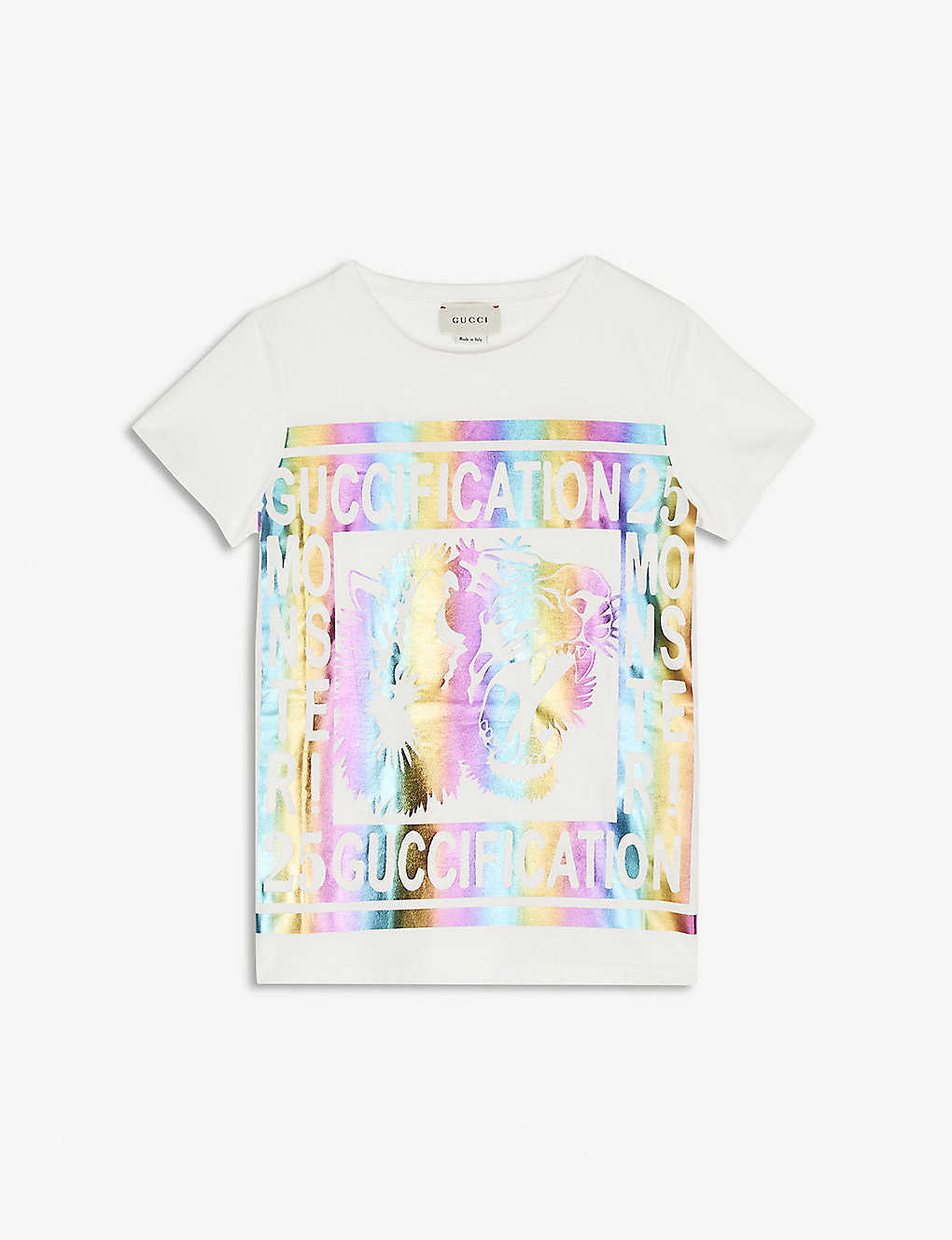 be2114024 GUCCI - Guccification metallic logo cotton T-shirt 4-12 years ...