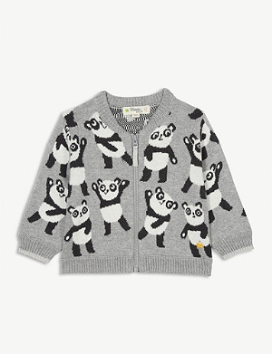 BONNIE MOB Banjo panda cotton-blend knitted jacket 3-18 months