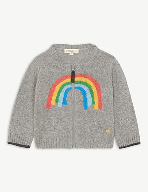 BONNIE MOB Rainbow intarsia wool-blend cardigan 3-18 months