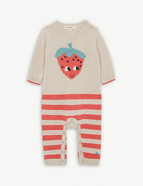 BONNIE MOB Strawberry print cashmere and wool-blend baby-grow 0-18 months