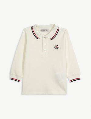 MONCLER Logo long-sleeved cotton polo shirt 3-36 months
