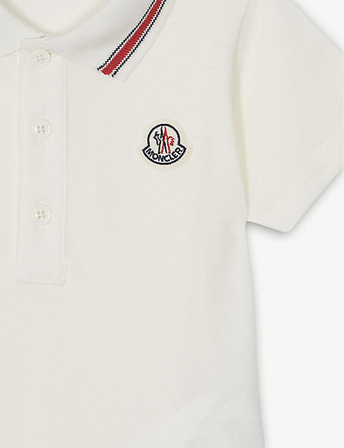 MONCLER Logo cotton-blend polo playsuit 3-24 months
