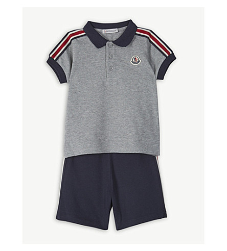 00ef5f308205 MONCLER - Striped cotton polo shirt and shorts set 3-36 months ...