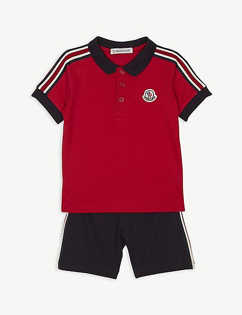 2d02129b85865 MONCLER Striped cotton polo shirt and shorts set 3-36 months