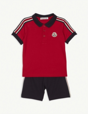 MONCLER Striped cotton polo shirt and shorts set 3-36 months
