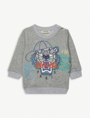 KENZO Tiger logo cotton-blend marl sweatshirt 6-18 months