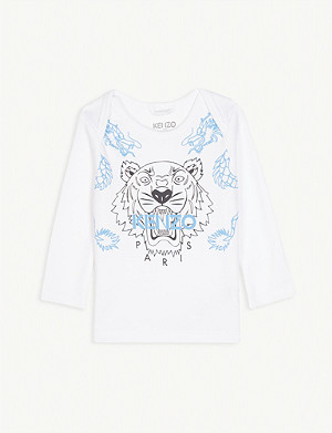 KENZO Tiger logo long-sleeved organic cotton top 6-36 months