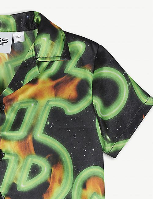 SSS WORLD CORP Flaming dollar-print woven shirt 6-24 months