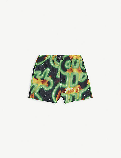 SSS WORLD CORP Flaming dollar print swim shorts 6-24 months