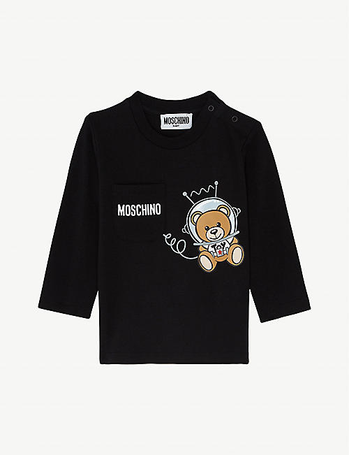MOSCHINO Space teddy long-sleeved cotton-blend T-shirt 3-36 months