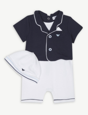 EMPORIO ARMANI Shortall and hat gift set (1-12 months)