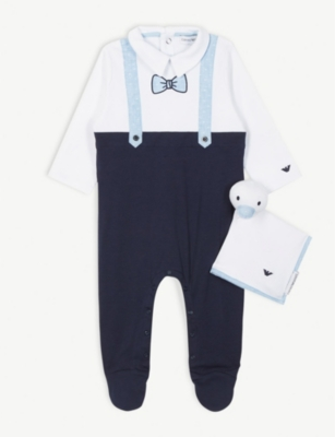 EMPORIO ARMANI Bow tie cotton sleepsuit and comforter set 1-12 months