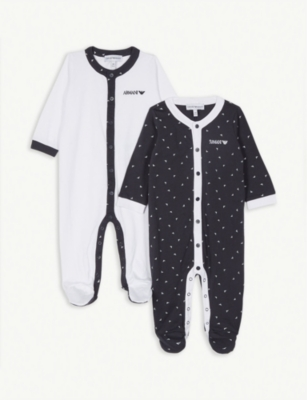 EMPORIO ARMANI Cotton sleepsuits set of two 0-36 months