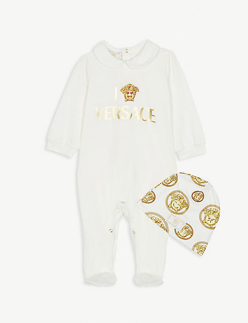 VERSACE Emoji cotton sleepsuit and hat set 0-9 months