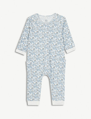 PETIT BATEAU Woodland print cotton all-in-one 0-18 months