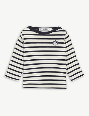 PETIT BATEAU Logo patch striped long-sleeved cotton T-shirt 6-36 months