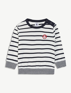 PETIT BATEAU Logo patch striped long-sleeve cotton T-shirt 6-36 months