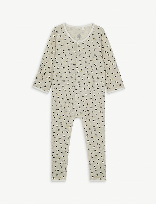 PETIT BATEAU Star print cotton and wool-blend baby-grow 0-18 months