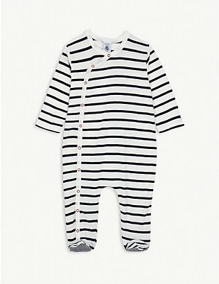 PETIT BATEAU: Striped cotton baby-grow 3-24 months