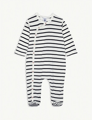 PETIT BATEAU Striped cotton baby-grow 3-24 months