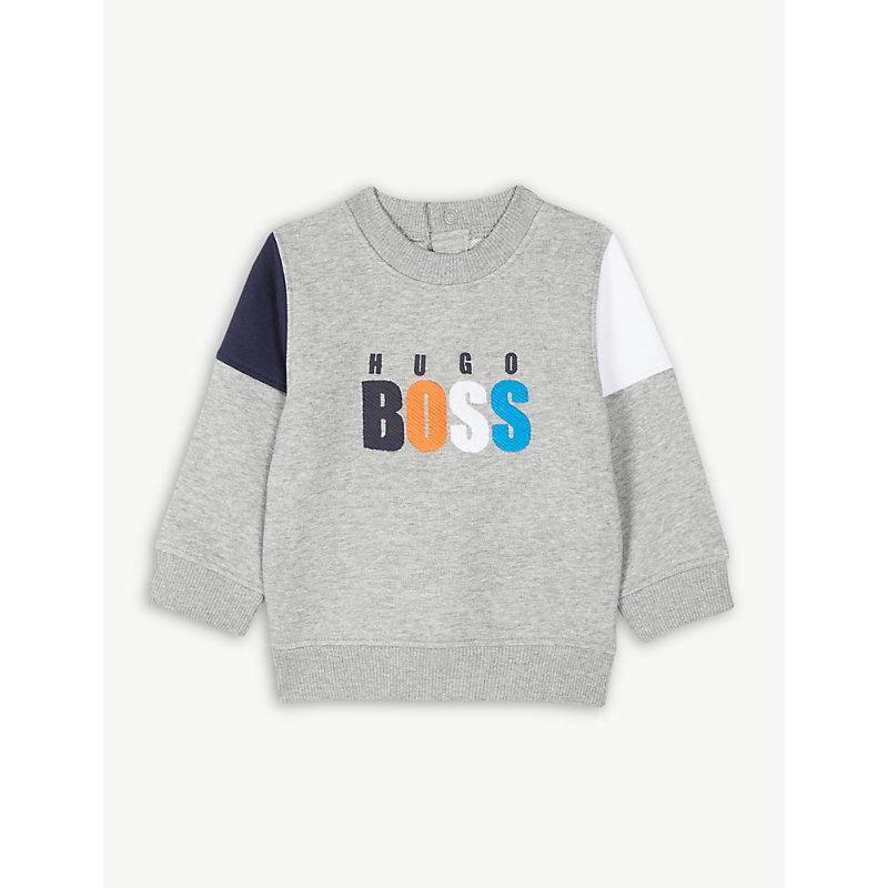 HUGO BOSS | Block Panel Sleeve Cotton Sweatshirt 6-36 Months | Goxip