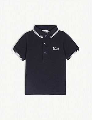 BOSS Logo short-sleeved cotton polo shirt 6-36 months