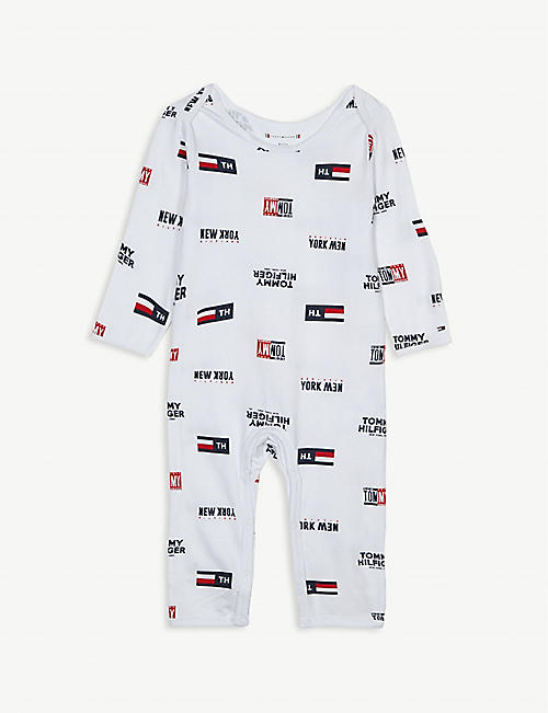 TOMMY HILFIGER Logo print cotton all-in-one 0-12 months