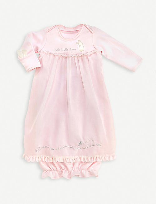 BUNNIES BY THE BAY: Hush Bunny cotton gown 3-6 months