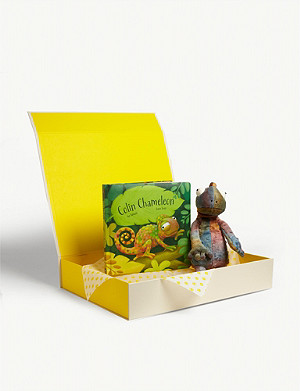 JELLYCAT Colin Chameleon soft toy and book hamper