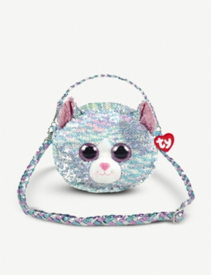 TY Whimsy Cat flippable-sequin shoulder bag