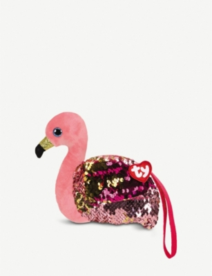 TY Gilda Flamingo flippable-sequin wristlet