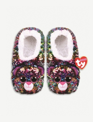 TY Dotty flippable sequin slippers small
