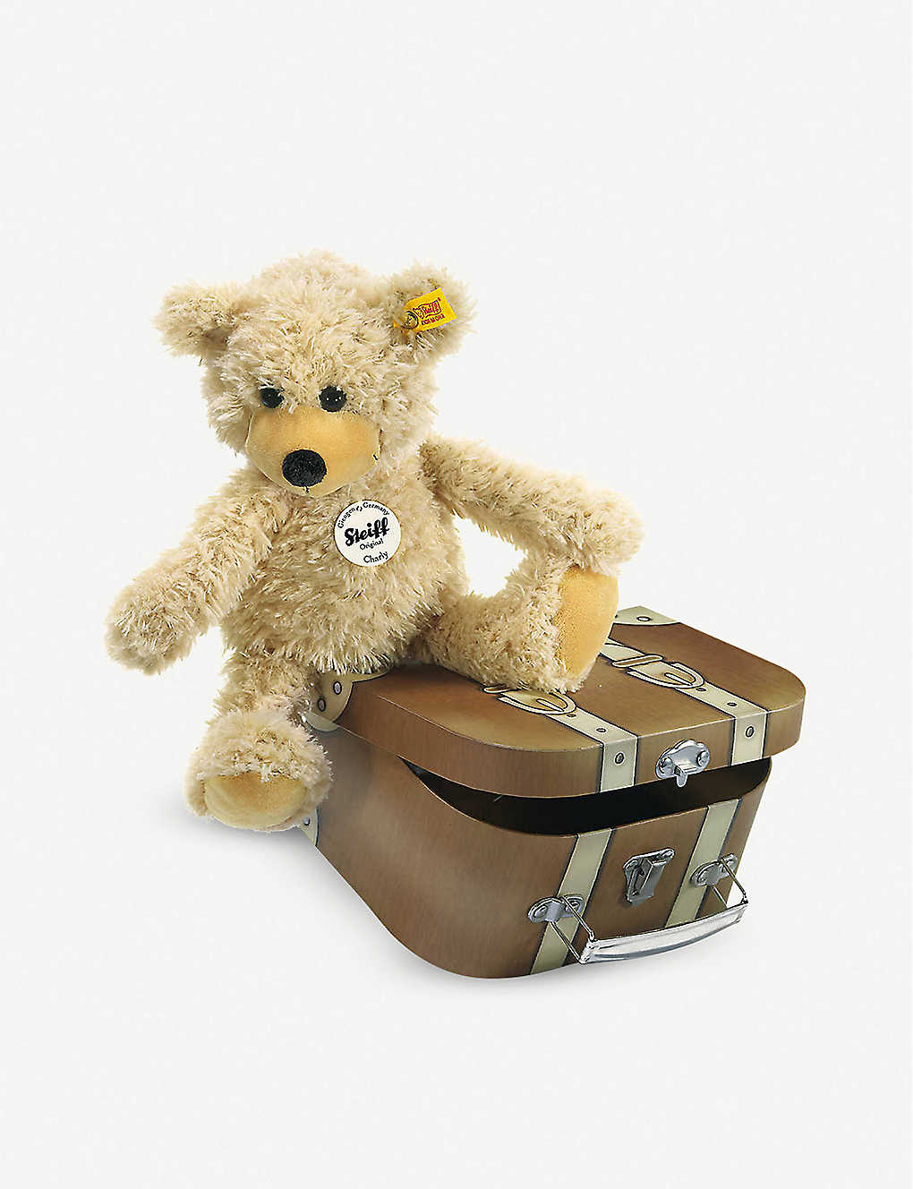 STEIFF: Charly dangling teddy bear in suitcase