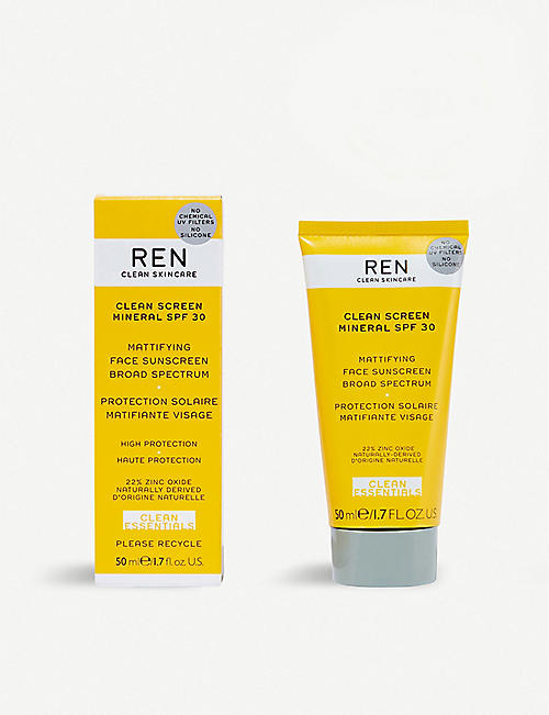 REN Clean Screen Mineral SPF 30 mattifying face sunscreen 50ml