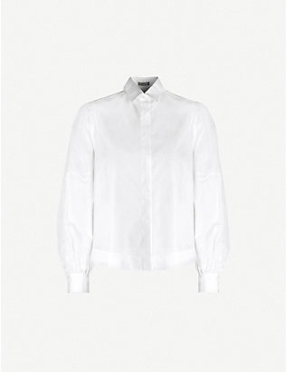 AZZEDINE ALAIA: Balloon-sleeve cotton-jersey shirt