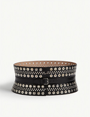 AZZEDINE ALAIA Eyelet-detailed leather corset belt