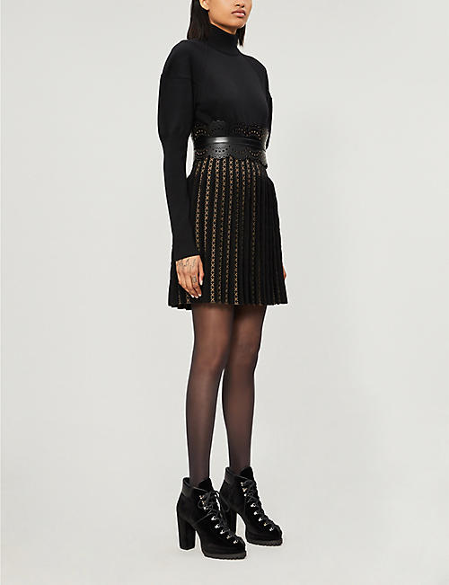 AZZEDINE ALAIA Pleated geometric-pattern stretch-woven skirt